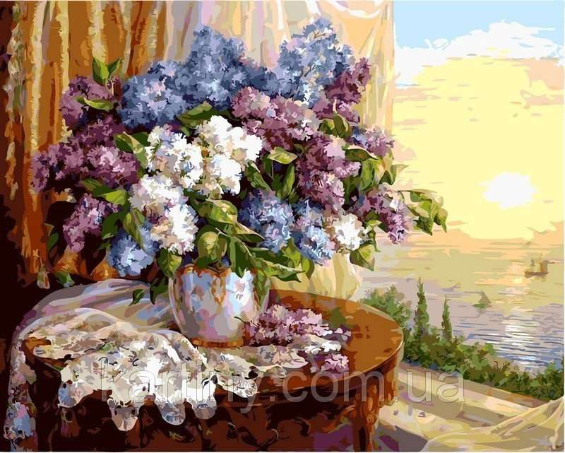 Картины по номерам 40×50 см. Сирень на окне