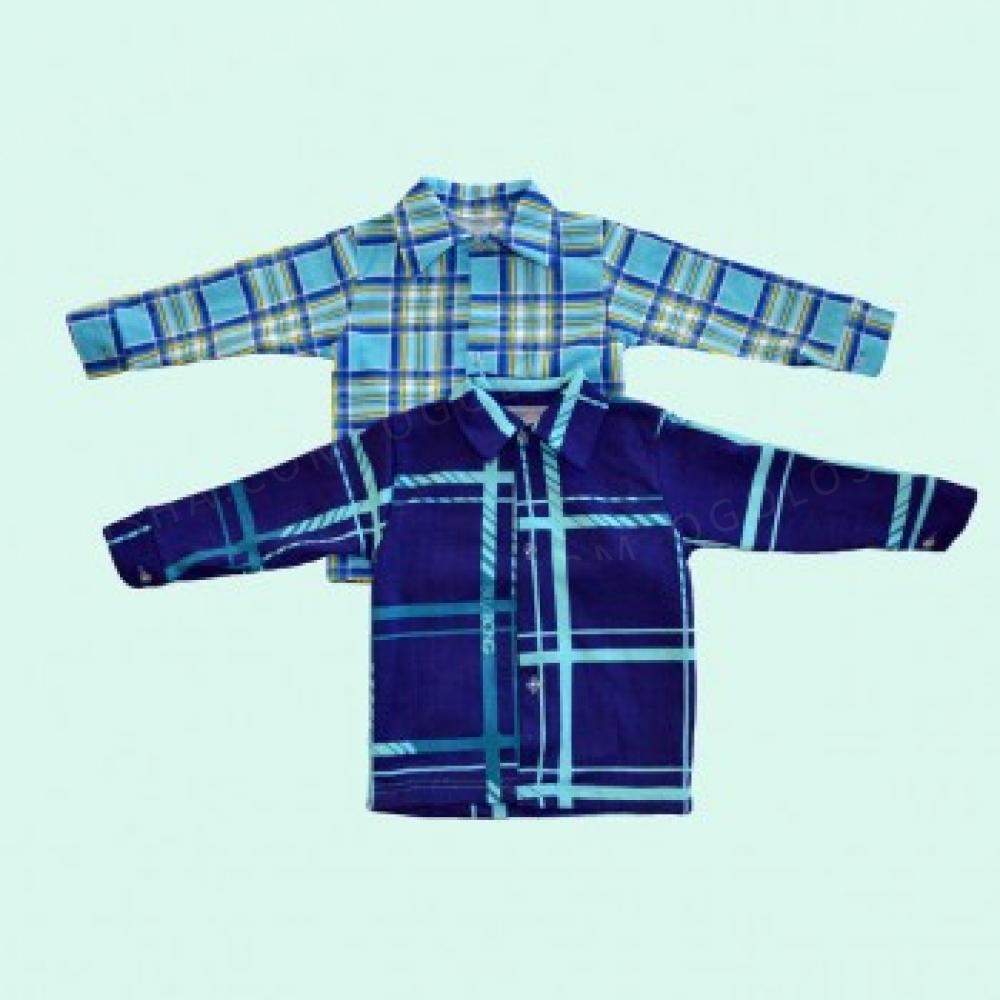 Детская мальчиковая рубашка в яркую клетку из качественного начеса.