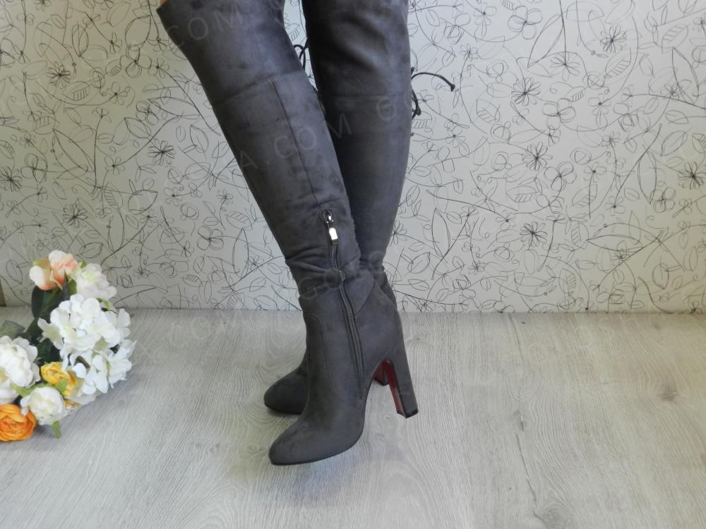 Ботфорты замшевые серые на каблуке