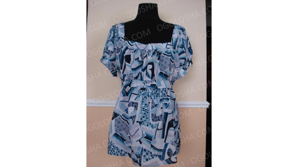 Летняя кофточка туника блузка с коротким рукавом