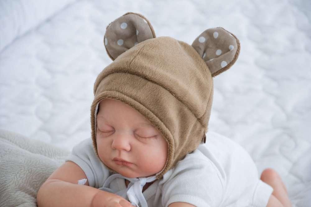 """Шапочка для новорожденного """"Мишка"""". Цвет коричневый"""