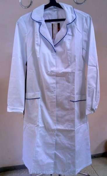 Халат рабочий белый с синим кантом для лаборантов,медиков