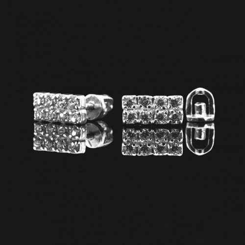 Сережки гвоздики , серебро , с камнями , прямоугольники