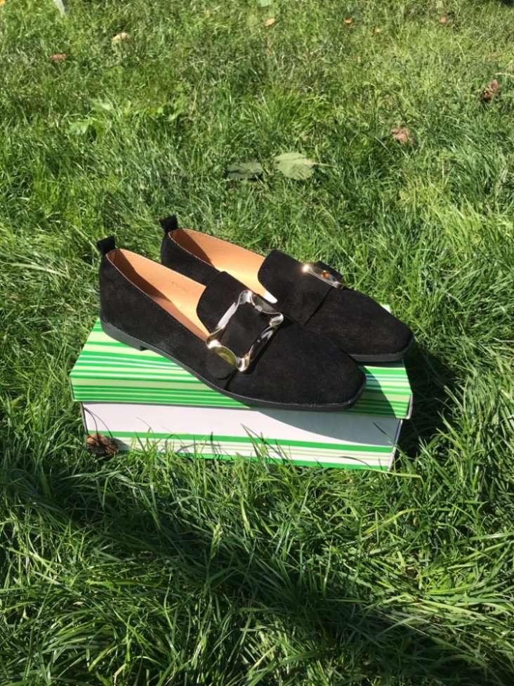 03c24a00 Туфли замшевые балетки чёрные мокасины слипоны ...: 260 грн - Мода и ...