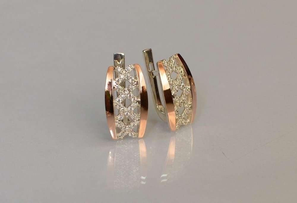 Серьги серебро с золотом