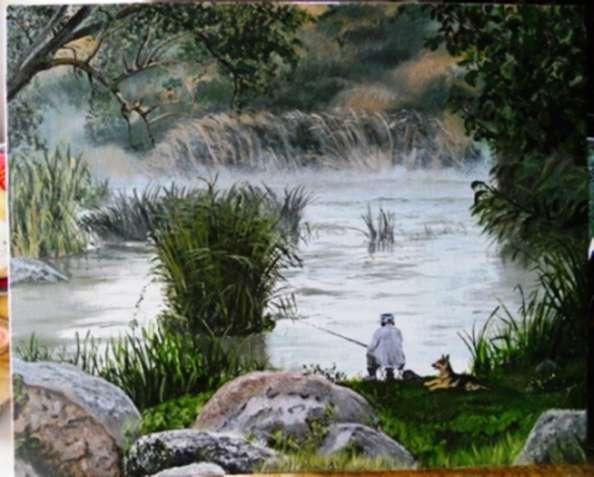 """Картина """"Рыбалка"""", холст, масло 40х50 см"""