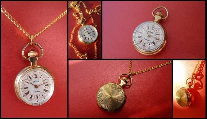 ФУНКЦИОНАЛЬНОЕ УКРАШЕНИЕ, кулон-часы «Чайка» золоченные сделано в ссср