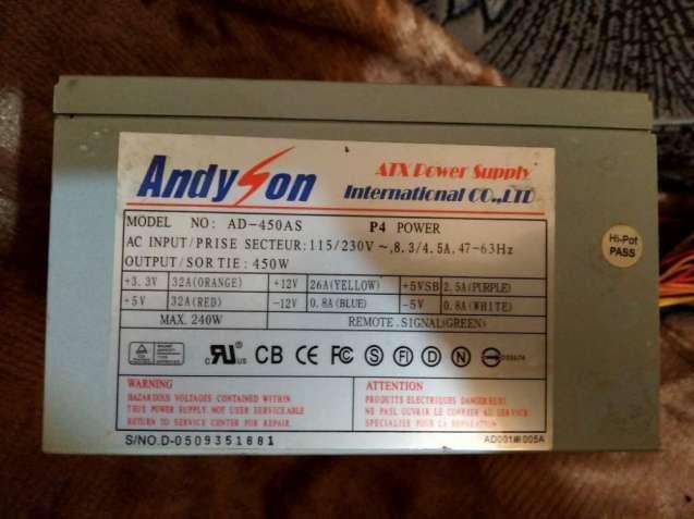 Распродажа! Блок питания Andyson AD-450AS 450W тяжелый 120FAN