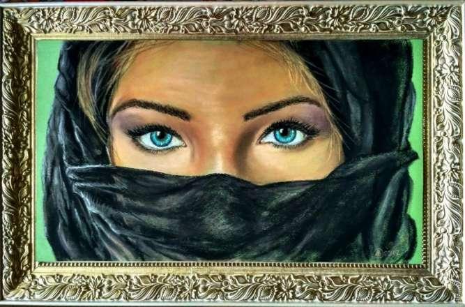 "Авторская картина ""Синие глаза"""