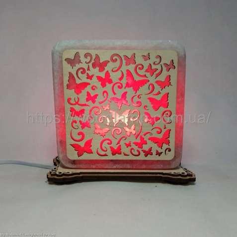 Соляной светильник квадратный Бабочки, соляная лампа, ночник