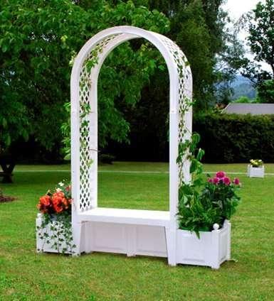 Садовая арка Брюсель с Лавкой белая №4705