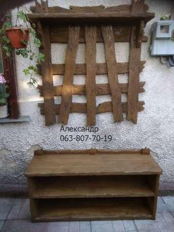 Деревянная прихажая под старину ( вешалка, полка для обуви )