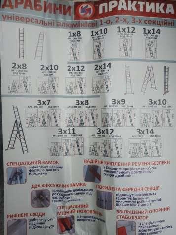 Драбина 3-х секційна алюмінієва 3х12.Лестница