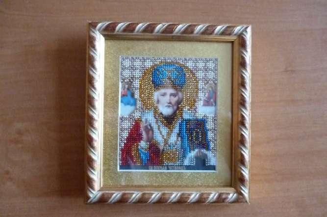 Икона Николая Чудотворца из бисера