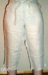 Бриджи женские летные (укороченные брюки)-р. 52 (лён)