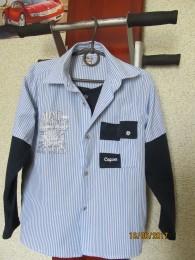 Обманка рубашка на мальчика.128-134.  title=