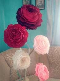 Великі квіти з гофрованого паперу, піони. title=