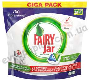 Таблетки для посудомоющей машины Fairy Jar All in One 115 шт title=