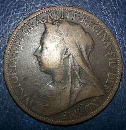 Монета ONE Penny Victoria 1899 title=