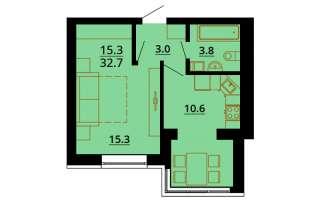 лучшая однокомнатная квартира в Европейском домике!!32 метра!!