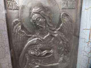 Икона святой пророк Иоанн Предтеча в серебре.