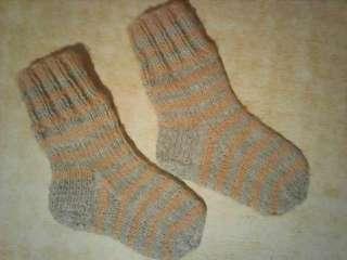 Вязанные детские полосатые носочки 14-14,5 см. title=
