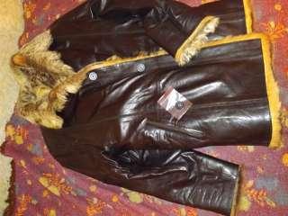 Меховая коженная куртка (высокая ) title=