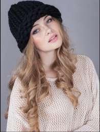 Вязаная шапка из шерсти мериноса, крупная вязка хельсинки разные цвета title=