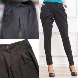 Классические брюки черные с широким поясом, зауженные к низу жіночі бр title=