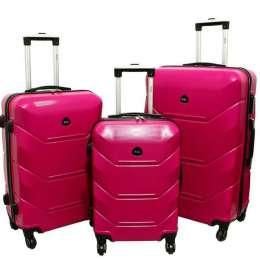 Дорожный Чемодан сумка Carbon 720 набор 3 штуки розовый title=
