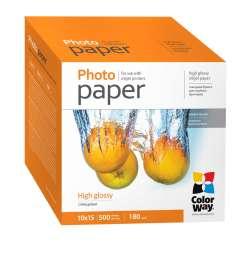 Фотобумага ColorWay глянцевая 10x15 см 500 листов, 13x18 см, A4 title=