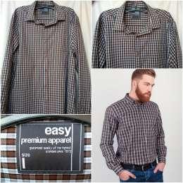 Мужская рубашка новая с длинным рукавом в клетку easy premium apparel  title=