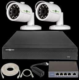 IP комплект відеоспостереження. Камери 2 Мп. Відеокамера Green Vision title=