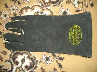 Перчатки краги кожаные сварочные рабочие длинные черного цвета