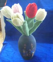 Вязаный Букет Тюльпанов- Цветы