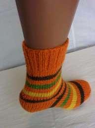 В'язані шкарпетки помаранчеві з напіввовни. Hand made
