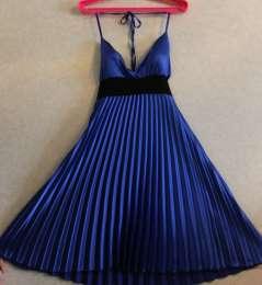 Красивое новое атласное синее коктейльное летнее платье - гофре