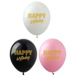 Латексні кульки HAPPY BIRTHDAY (золота фарба) title=
