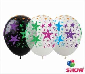 Латексні кульки кольорові Зірки (чорний,прозорий,білий) title=