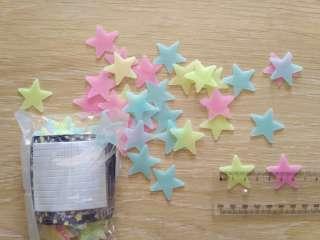 Звёзды фосфорные 100 шт Разноцветные на потолок светятся ночью title=