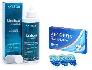 AIR OPTIX HydraGlyde + Unica Sensitive 350 Комплект title=