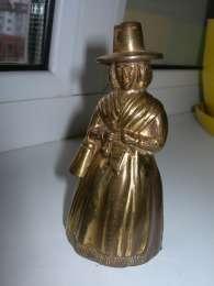 Колокольчик, Дама в шляпе, бронза, Англия, клеймо