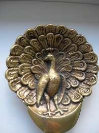 Подставка, ваза, рельеф, Павлин, бронза, Германия