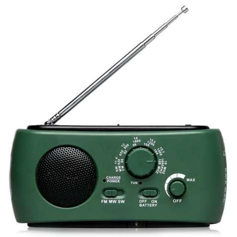 Фонарь Lesko RD322T Зелёный с радио,динамо машиной и солнечной батарее