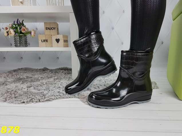 d9d4ebf93 Ботинки полусапоги резиновые утепленные непромокаемые черные с серым ...