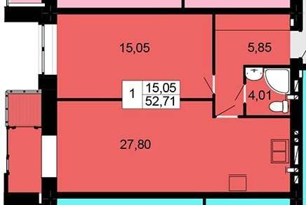 Большая 1 комнатная квартира 53 м от застройщика ЖК Одесская чайка