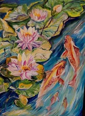 """Картина """"Цветение лотоса"""" масло декор для квартиры отличный подарок"""