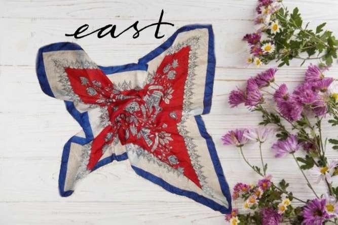East additions 100 % шелк  Большой платок в принт слоны и цветы Индия