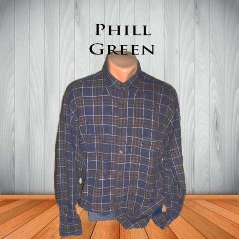 Phill Green Теплая мужская рубашка под байку длинный рукав 40 Италия