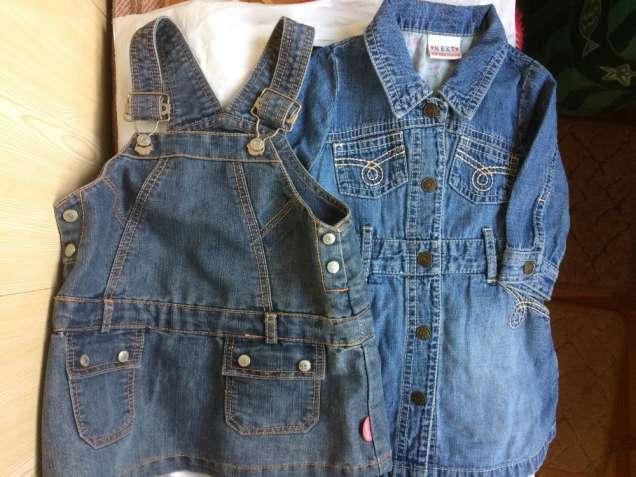 Продам сарафан и платье на девочку джинсовый